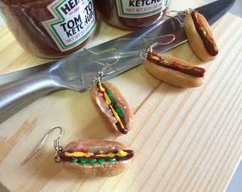 Yummy Junk Food Hot Dog Earrings