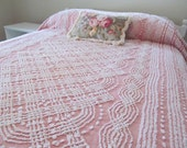 Vintage Chenille Bedspread White on Pink Shabby Cottage Paris Apartment Boudoir