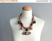 Tribal statement brown necklace