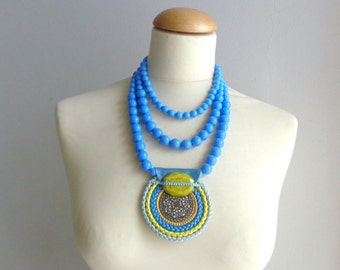 Blue leather Statement necklace longer style multistrand leather necklace