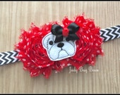 Bulldog Headband, Dog Headband, Team Mascot Headband, Football Headband, White Bulldog Headband, Red and Black Headband, Bulldog Mascot