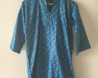 Vintage 100% Silk Indian Made Tunic Size Small
