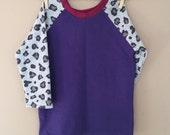 READY TO SHIP shortees remnant raglan crewneck tunic sweatshirt - purple leopard - girls