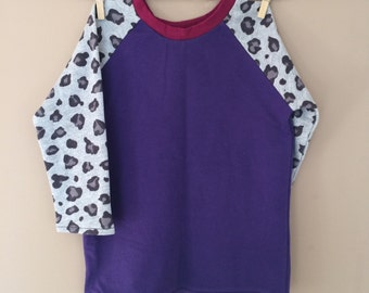 READY TO SHIP - Sunday West - remnant raglan crewneck tunic sweatshirt - purple leopard