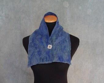 Blue Nuno Felted Scarf / Neck Warmer - Silk and Wool Felt
