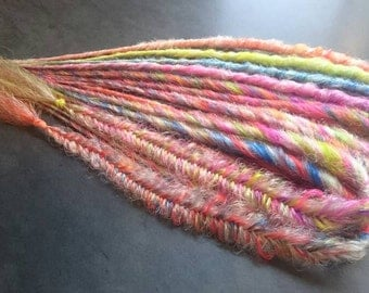 Pre-made Ready to Ship! 10 Rainbow Mix Style Messy Fishtail Braid Double-Ended Synthetic Dreadlocks - Accent Kit