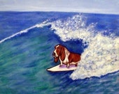 20 % off Basset Hound, dog print on tile, basset hound tile, ceramic coaster, gift for surfer, moden dog art, artwork