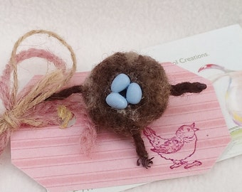 Spring Robin's Nest Pin Needle Felted Birds Nest on Branch with Sculpted Clay Eggs Mothers Day