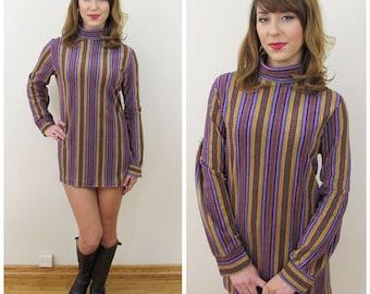 70s Purple Striped Chenille Turtleneck Tunic or Mini Dress, Medium to Large
