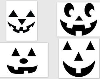 4 - Pumpkin Faces   SVG, PDF, PNG, Studio3  Files - Custom Designs & Wording Welcome