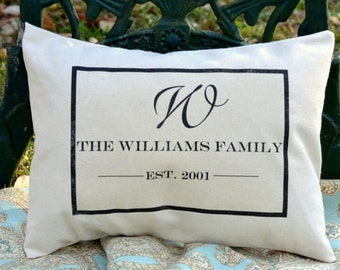 Personalized monogram pillow, Cotton anniversary, 2nd Anniversary,  Mother's Day gift, family gift,  valentine gift idea