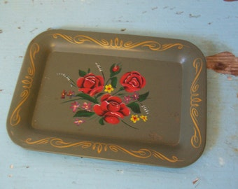 little sage green tole tip tray