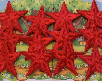 one dozen red star appliques
