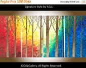 """Large art original oil landscape painting wall art wall decor home decor canvas art """"The Enchanted Forest"""" by QIQIGALLERY"""
