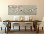 """48"""" Original art BIRDS painting Acrylic painting wall decor wall art palette knife painting Gift for her """"Harmony III"""" by QIQIGALLERY"""