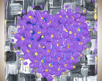 """Heart painting purple black white grey painting square art Christmas gift Valentine's Gift wall art canvas art mixed """"Love"""" by QiQiGallery"""
