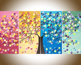 "Colorful Abstract painting acrylic landscape Painting four seasons tree Canvas art ""365 Days of Happiness"" by qiqigallery"