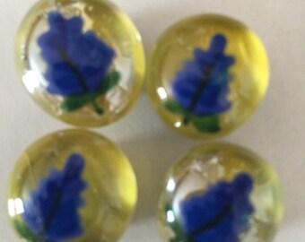 Half off sale Blue bonnet  flowers Hand Painted glass gem magnets party favors