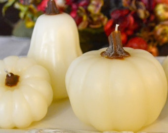 pumpkin and gourd candles set of 3 off white