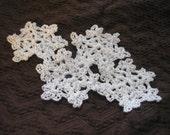 Crochet Snowflake Appliques set of 4 Winter Accents