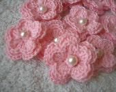 Crochet Pink Sparkle Flowers with pearls set of 10