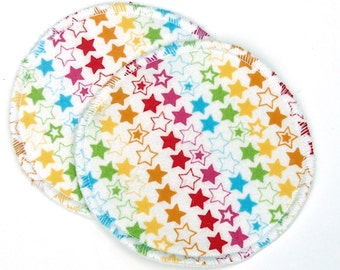 """Large Reusable Nursing Pad Set in Bamboo/Organic Cotton with hidden PUL - cotton flannel top - """"Rainbow Stars"""""""