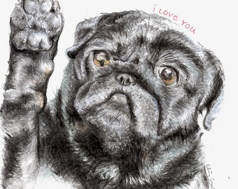 Lola Pug Print