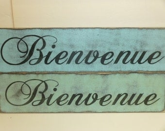 50% off STORE CLOSING SALE / Bienvenue sign / Paris welcome sign / French welcome sign / hand painted sign / Paris greeting sign / wood sign