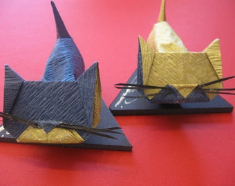 Origami Cats : A Set Of Blue And Gold Cats With Whiskers