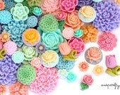 32 pc pastel resin flower cabochon mix / high quality resin flower grab bag / to make earrings, rings and hairpins
