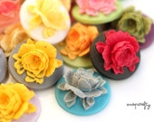 10pc resin rose cameos / choose from 20 colors / detailed resin flower cabochons for diy jewelry