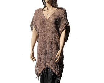 Brown Cotton Long Top