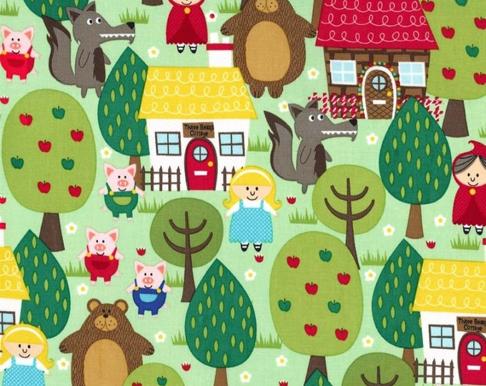 Into The FOREST Green Cotton Quilt Fabric - by the Yard, Half Yard or Fat Quarter Fq Trees Pigs Cottage Three Bears Red Riding Hood Bear