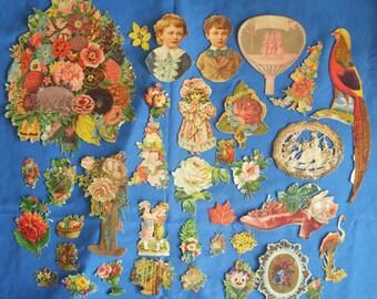 Lot of 120 Victorian Die Cut Embossed Paper Pictures Calling Cards Ephemera Scraps Ads