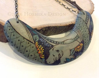 Hippopotamus Wooden Statement Necklace, Boomerang, Pyrography -wood burning-, Hand painted, One-of-a-kind jewelry