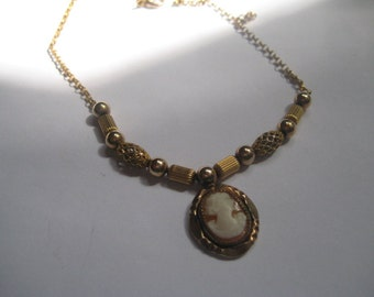 HAYWARD 1/20th 12K GF Carved Shell Cameo Necklace with Beads