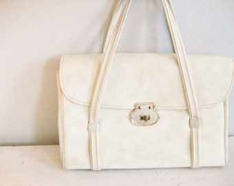 Vintage Large Off-White Faux Leather Satchel Style Purse with Turn Key Closure