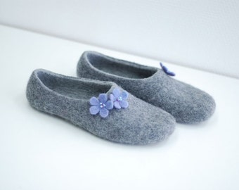 Ready to ship- size 36 US5.5-6  grey  felted slippers  last minute gift