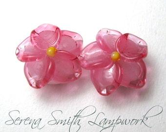 Lampwork Glass Bead Pair, Cherry Blossom Flowers, pink handmade sra jewelry supplies, spring beads