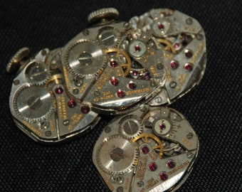 Vintage Antique small Wittnauer Watch Movements Steampunk Altered Art CD 90