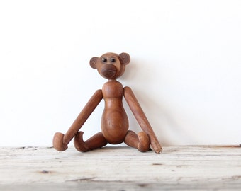 Wood Articulated Mid Century Monkey Figure - Size Large
