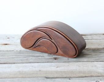 Modern Carved Wooden Secret Jewelry Box