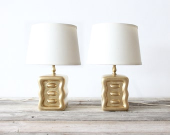 Glam Gold Ceramic Table Lamps, Pair