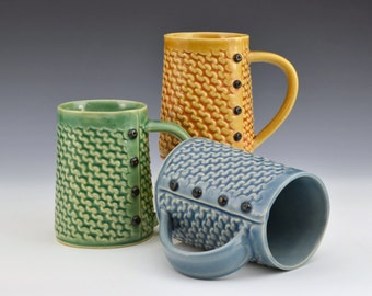 Knitted mug in Garter Pattern Handmade ceramic mug MADE to ORDER