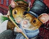 Dickens Christmas Mice No. 4, Tiny Tim Limited Edition ACEO Giclee Print reproduced from the Original Watercolor
