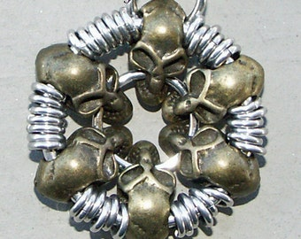 Chainmaille Bronze Skull Pendant Necklace Men And Women Would Love This