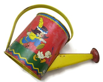 Children's Tin Litho Toy Watering Can - Ohio Art, Native American Boy and Girl