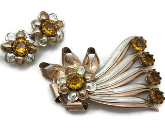 Sterling Brooch and Earring Set - Topaz Rhinestone, Two Tone, Sterling Silver 1940s