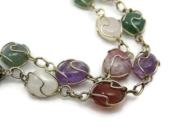 Wire Wrapped Gemstone Long Necklace