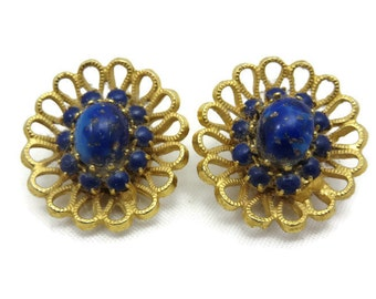 Faux Lapis Earrings - Blue Art Glass, Clips, Austria, Costume Jewelry